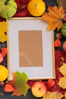 Autumnal blank photo frame. thanksgiving day concept. frame for text