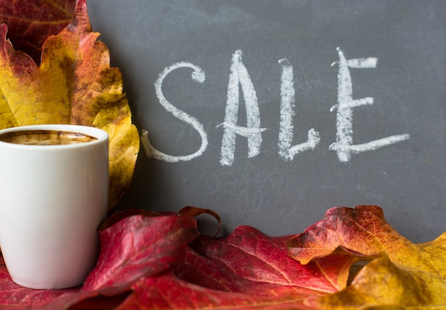 Autumnal bright leaves with sale word