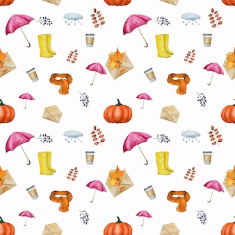 Autumnal elements seamless pattern
