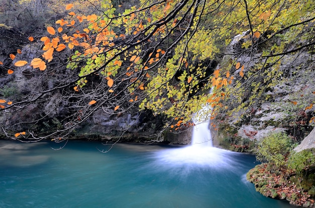 Autumnal image of a waterfall on the urederra river. navarre. spain