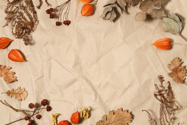Autumnal leaves and berries on brown paper