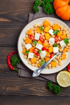 Autumnal salad with chickpea pumpkin feta parsley