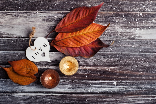Autumnal still life with heart