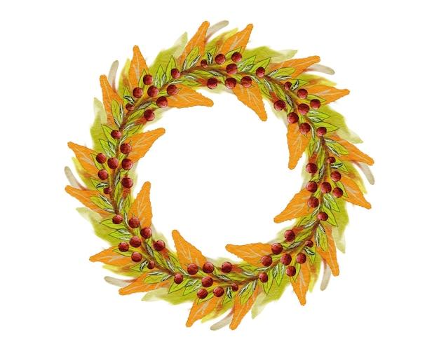 葉とベリーと秋の花輪。手描きの水彩風