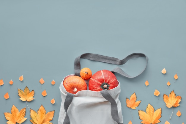 Autumntime zero waste top layout. top view onrange pumpkins, apples and quince in natural canvas bag and orange maple leaves. flat lay with copy-space on the grey paper background.