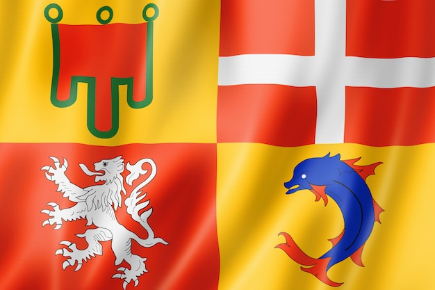 Auvergne-rhone-alpes region flag, france