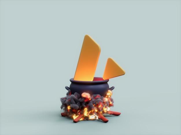 눈사태 가마솥 화재 요리사 암호화 통화 3d 그림 렌더링