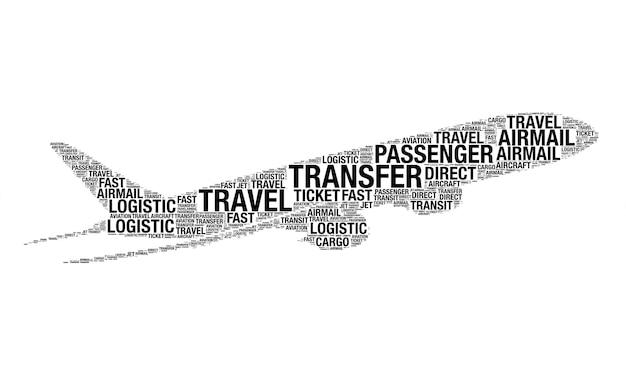 白い背景に航空機として描く言葉で作られた航空の概念