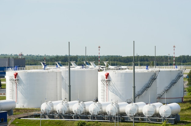 Aviation fuel storage for aircraft at the airport.