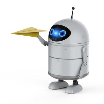 Концепция авиационных технологий с 3d-рендерингом робота-андроида или робота с искусственным интеллектом с бумажным самолетиком