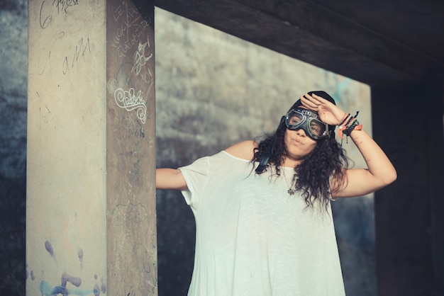 Aviator funny  young beautiful moroccan curly woman