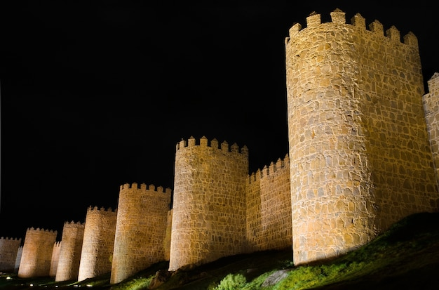 Avila at night, medieval city walls. castile and leon, spain.
