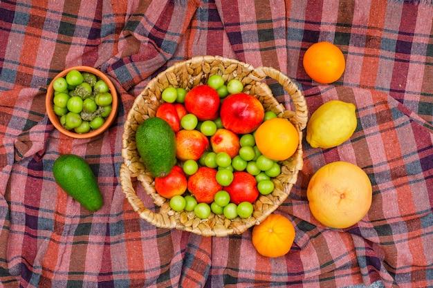 アボカドとレモンのスパイシーなグリーンプラム、オレンジ、アボカド、レモン、タンジェリンのボウルにピクニック布の枝編み細工品バスケット、上面図。