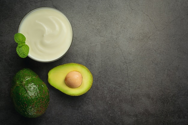 Avocado avocado yogurt products made from avocado food nutrition concept.