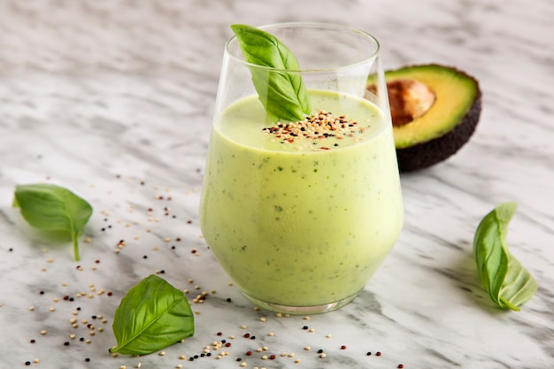 Avocado and basil smoothie, healthy drink.