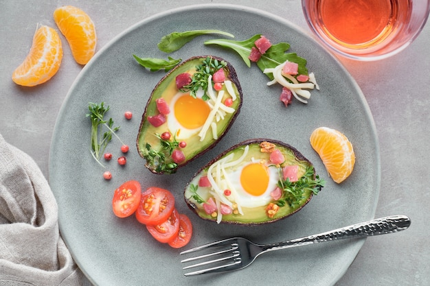 Avocado boats with ham cubes