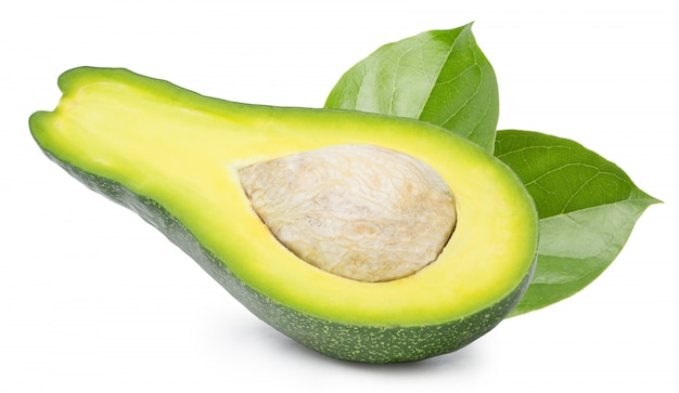 Avocado cut in half isolated on white space
