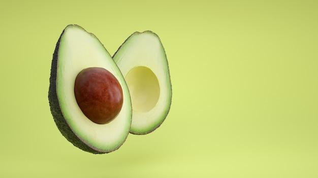 아보카도는 녹색 바탕에 반으로 자릅니다.