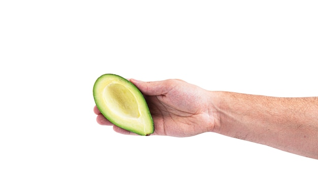 Avocado in hand isolated on a white background. high quality photo