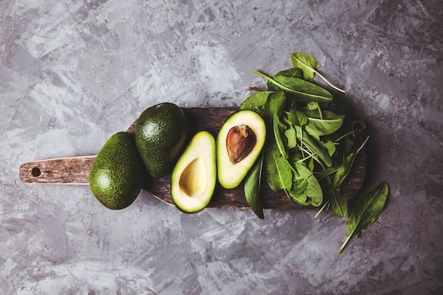 Avocado. healthy food on the table