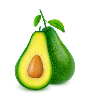 Avocado isolated on white with clipping path
