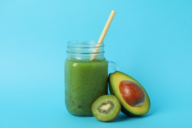 Avocado and kiwi smoothie in jar