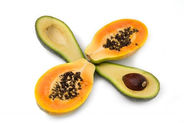 Avocado and papaya half cut