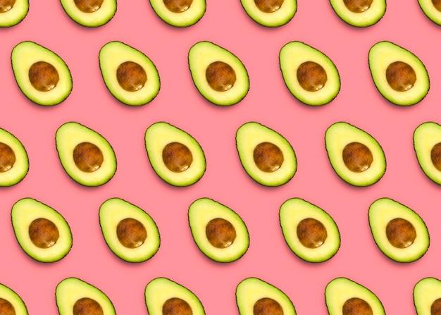 Узор авокадо на розовом фоне