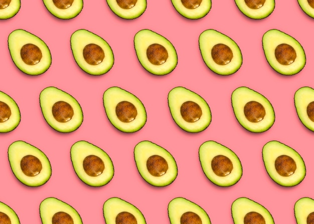 Avocado pattern on pink background