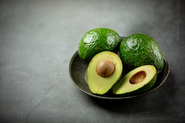 Avocado products made from avocados  food nutrition concept.