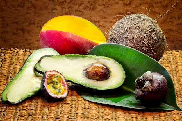 Avocado slice and other tropical fruits
