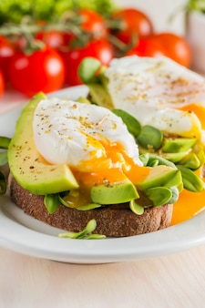 Avocado toast, cherry tomato and poached eggs on wooden background.