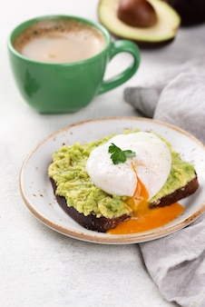 Avocado toast on plate with runny poached egg on top and coffee cup
