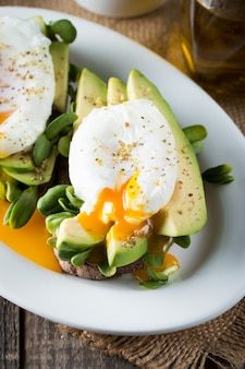 Avocado toast and poached eggs.