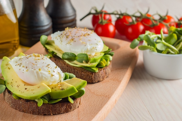 Avocado toast with cherry tomato and poached eggs.