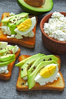 Avocado toast with curd and egg. keto breakfast or snack.