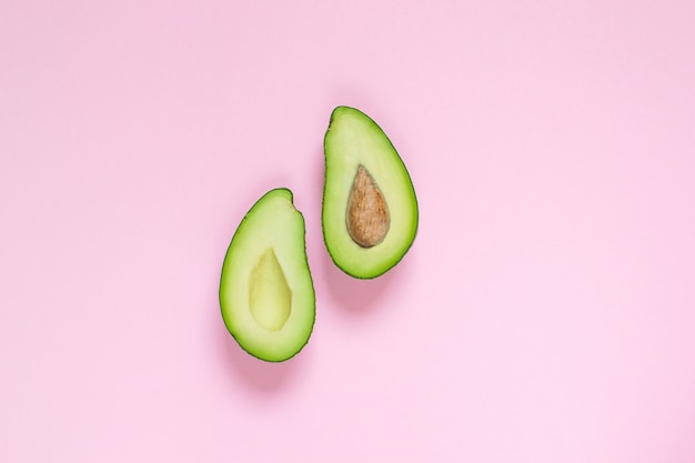 Avocado, top view, copy space, healthy food concept