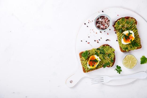 Avocado vegetable. sandwiches with guacamole