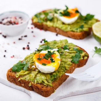 Avocado vegetable. sandwiches with guacamole