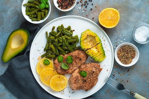 灰色の背景の平らなプレートに豆と鶏の胸肉とアボカド。