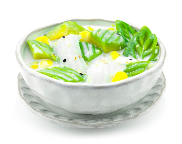 Avocado with coconut milk served with corn fusion dessert thai mix