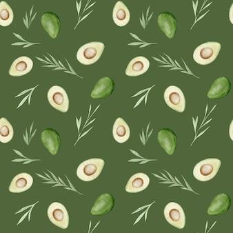 Фон авокадо. здоровая еда. акварель рука рисунок бесшовные модели.