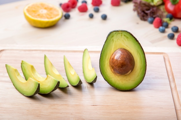 Avocados cut in slices