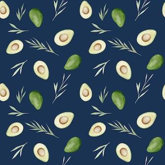 Бесшовный узор из авокадо. здоровая еда. акварель рука рисунок бесшовные модели.