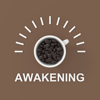 Awakening text with coffee. 3d background design. 3d rendering.