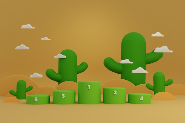 Award podium stand for winner in sport or game show challenge with cactus on desert scene.