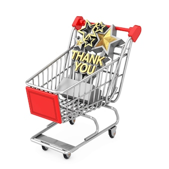 흰색 바탕에 쇼핑 카트 트롤리에 황금 감사 로그인으로 트로피를 수상. 3d 렌더링