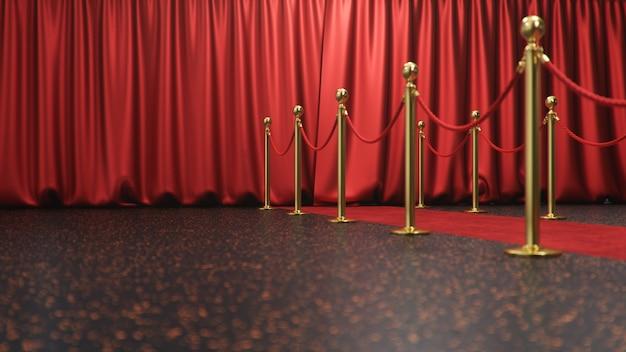 Сцена награждения с закрытыми красными шторами. красный бархатный ковер между золотыми преградами. театральная сцена