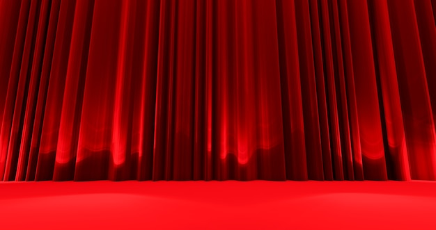 Awards show background with closed red curtains.