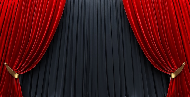 Awards show background with red curtains open on black curtain .